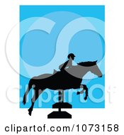 Silhouetted Child On A Hurdle Jumping Horse