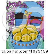 Painted Bowl Of Lemons In Santtorini Greece