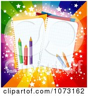 Back To School Pencils And Notebook Paper Over A Colorful Burst