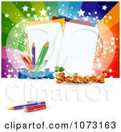 Clipart 3d Back To School Background With Paper And Pencils Against A Burst Royalty Free Vector Illustration