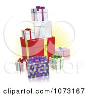 Clipart 3d Holiday Gift Boxes And A Yellow Burst Royalty Free Vector Illustration