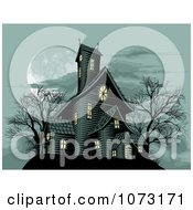 Clipart Spooky Haunted House In The Light Of A Full Moon Royalty Free Vector Illustration by AtStockIllustration