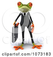 Clipart 3d Business Springer Frog Carrying A Briefcase 1 Royalty Free CGI Illustration