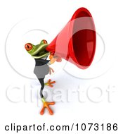 Clipart 3d Business Springer Frog Announcing Through A Megaphone Royalty Free CGI Illustration
