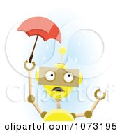 Yellow Robot Holding A Tiny Umbrella In The Rain