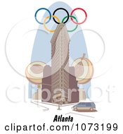 Clipart Olympic Rings Over A Building In Atlanta Georgia Royalty Free Vector Illustration by Andy Nortnik