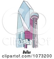 Clipart The Reunion Tower And Fountain Place In Dallas Texas Royalty Free Vector Illustration