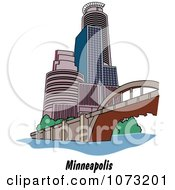 Clipart Bridge And Skyscrapers In The City Of Minneapolis Minnesota Royalty Free Vector Illustration