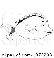 Clipart Black And White Unicorn Tang Fish Royalty Free Vector Illustration by erikalchan