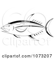 Clipart Black And White Ahi Tuna Fish Royalty Free Vector Illustration