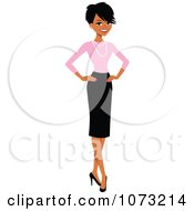 Corporate Black Businesswoman In A Skirt And Pink Shirt