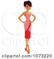 Clipart Beautiful Black Woman In A Red Dress Royalty Free Vector Illustration
