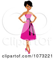 Clipart Beautiful Black Woman In A Pink Dress Royalty Free Vector Illustration