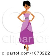 Clipart Beautiful Black Woman In A Purple Dress Royalty Free Vector Illustration