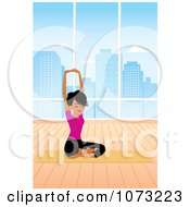 Clipart Fit Black Woman In A Studio Doing A Seated Yoga Pose Royalty Free Vector Illustration by Monica
