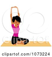Clipart Fit Black Woman Doing A Seated Yoga Pose Royalty Free Vector Illustration by Monica
