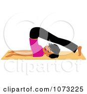 Clipart Fit Black Woman Doing A Yoga Plough Pose Royalty Free Vector Illustration by Monica