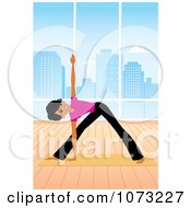 Clipart Fit Black Woman Doing Yoga Triangle Pose In A Studio Royalty Free Vector Illustration by Monica