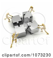 Clipart 3d Wood Mannequins Assembling A Silver Puzzle Royalty Free CGI Illustration