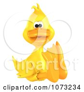 Clipart 3d Yellow Ducky Sitting Royalty Free CGI Illustration