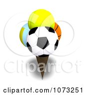 Clipart 3d Sports Balls Ice Cream Cone 1 Royalty Free CGI Illustration