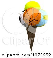 Clipart 3d Sports Balls Ice Cream Cone 2 Royalty Free CGI Illustration