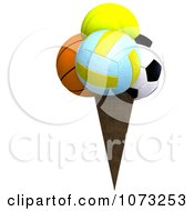 Clipart 3d Sports Balls Ice Cream Cone 3 Royalty Free CGI Illustration