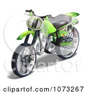 Clipart 3d Green Motocross Dirt Bike 1 Royalty Free CGI Illustration