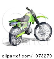 Clipart 3d Green Motocross Dirt Bike 4 Royalty Free CGI Illustration