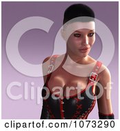 Clipart 3d Pinup Woman In A Leather Corset 1 Royalty Free CGI Illustration
