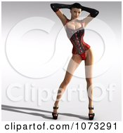 Clipart 3d Pinup Woman In A Black And Red Corset 1 Royalty Free CGI Illustration