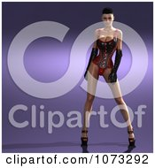 Clipart 3d Pinup Woman In A Leather Corset 2 Royalty Free CGI Illustration