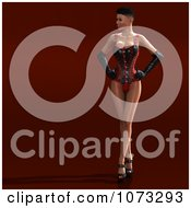 Clipart 3d Pinup Woman In A Black And Red Corset 2 Royalty Free CGI Illustration