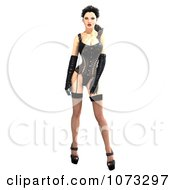 Clipart 3d Pinup Woman In A Black Corset 2 Royalty Free CGI Illustration