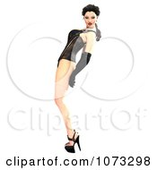 Clipart 3d Pinup Woman In A Black Corset 3 Royalty Free CGI Illustration