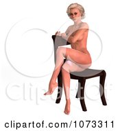 Clipart 3d Sexy Blond Pinup Woman In The Nude On A Chair 1 Royalty Free CGI Illustration
