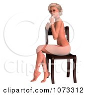 Clipart 3d Sexy Blond Pinup Woman In The Nude On A Chair 2 Royalty Free CGI Illustration