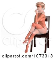 Clipart 3d Sexy Blond Pinup Woman In The Nude On A Chair 3 Royalty Free CGI Illustration