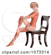 Clipart 3d Sexy Blond Pinup Woman In The Nude On A Chair 4 Royalty Free CGI Illustration