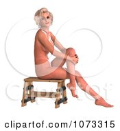 Clipart 3d Sexy Blond Pinup Woman In The Nude On A Stool 1 Royalty Free CGI Illustration