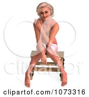 Clipart 3d Sexy Blond Pinup Woman In The Nude On A Stool 2 Royalty Free CGI Illustration