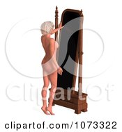 Clipart 3d Sexy Blond Pinup Woman In The Nude By A Mirror Royalty Free CGI Illustration