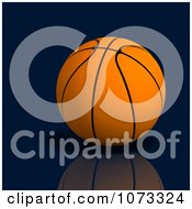 Clipart 3d Basketball On Reflective Blue Royalty Free CGI Illustration