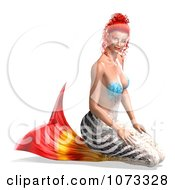 Clipart 3d Female Mermaid With A Zebra Tail Royalty Free CGI Illustration