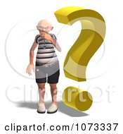 Clipart 3d Old Grandpa Senior Man And Question Mark 2 Royalty Free CGI Illustration