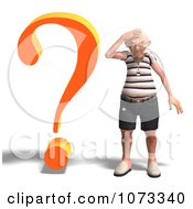 Clipart 3d Old Grandpa Senior Man And Question Mark 1 Royalty Free CGI Illustration by Ralf61