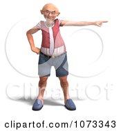 Clipart 3d Old Grandpa Senior Man Sternly Pointing Royalty Free CGI Illustration