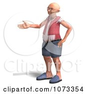 Clipart 3d Old Grandpa Senior Man Holding A Hand Out Royalty Free CGI Illustration by Ralf61