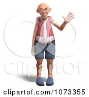 Clipart 3d Old Grandpa Senior Man Waving Royalty Free CGI Illustration