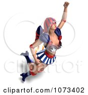 Clipart 3d Super Woman Flying With A Jet Pack In An American Costume 1 Royalty Free CGI Illustration by Ralf61